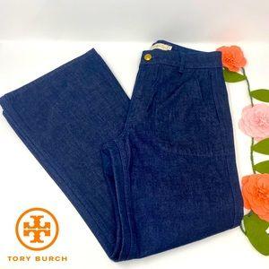 Tory Burch High Waist Wide Leg Jean, Large pockets